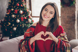 Photo of cute lady wrapped checkered plaid show heart symbol wear red pullover in decorated x-mas living room indoors