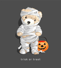 Trick Or Treat Slogan With Cut...