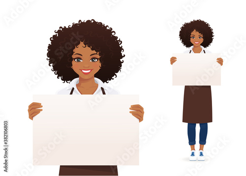 Smiling african woman in apron holding empty blank board isolated vector illustration