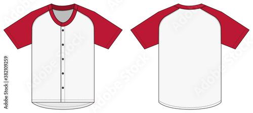 Fotografia Jersey shortsleeve shirt (baseball uniform shirt) template vector illustration