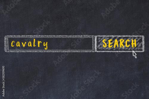 Billede på lærred Chalk sketch of browser window with search form and inscription cavalry