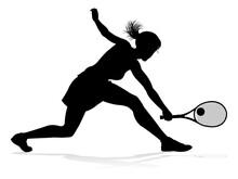 A Tennis Player Woman Silhouet...