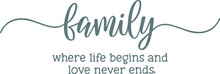 Family Where Life Begins And Love Never Ends Logo Sign Inspirational Quotes And Motivational Typography Art Lettering Composition Design Background