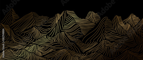 landscape wallpaper design with Golden mountain line arts, luxury background design for cover, invitation background, packaging design, fabric, and print. Vector illustration.