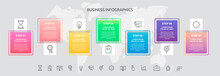 Infographics Squares With Seven Steps, Icons. Vector Template Used For Diagram, Business, Web, Banner, Workflow Layout, Flowchart, Info Graph, Timeline, Content, Levels, Chart, Processes Diagram