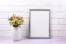 Silver Frame Mockup With Yarrow Flowers