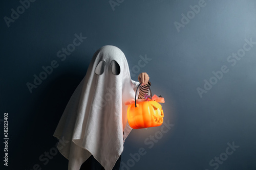 A boy in ghost costume hold a pumpkin head basket with candy at the halloween night Fotobehang