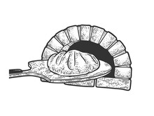 Bread On Paddle And Oven Sketc...