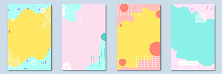 Summer. Modern, trendy design set for social media. Contemporary art. Creative conceptual and colorful collage. Copyspace to insert your ad, text, image. Seamless styled. Watercolor, geometric, lines.