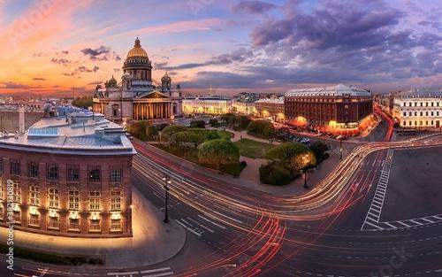 Fototapeta Night view of the Saint Petersburg city obraz