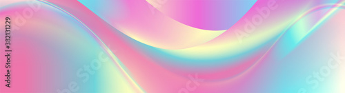 Colorful holographic foil abstract liquid waves futuristic background. Vector banner design