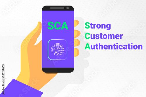 Obraz SCA - Strong Customer Authentication. Vector illustration. secret identification by fingerprint - fototapety do salonu