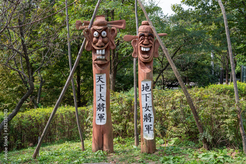 Tela Jangseung, Korean traditional totem pole at the village entrance