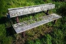 An Old, Wooden Abandoned Bench...