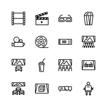 Simple Set Of Cinema Related Icons. Cinema For Cars, 3D Glasses, Popcorn, Cola, Movie Projector, Ticket, Spectator, Screen, Camera, Etc. Vector