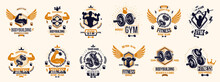 Fitness Sport Emblems Logos Or...