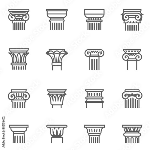 Antique columns, pillars outline icons set isolated on white Canvas-taulu