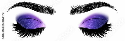 Fotografie, Obraz Hand drawn illustration vector closed eyes dark blue and purple galaxy sylver go