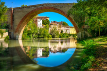 Ponte Della Concordia, Roman Bridge And River Metauro. Fossombrone, Marche, Italy.