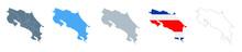 Costa Rica Map Set - Vector Solid, Contour, Regions, Flag, Pixels