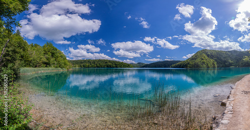 View on idyllic lake in the Plitvice lakes national park in Croatia during daytime