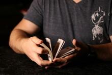 Card Magician Pracard Magician Practicing Sleight Of Hand Magic Cardestrycticing Sleight Of Hand Magic