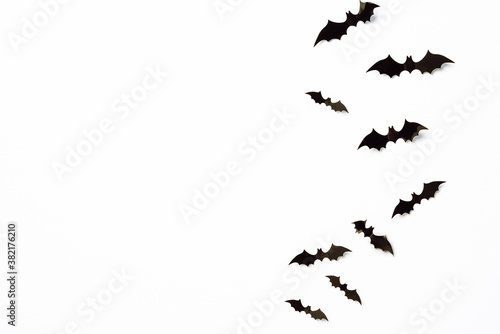 Canvas Print Flying bats group isolated on white background