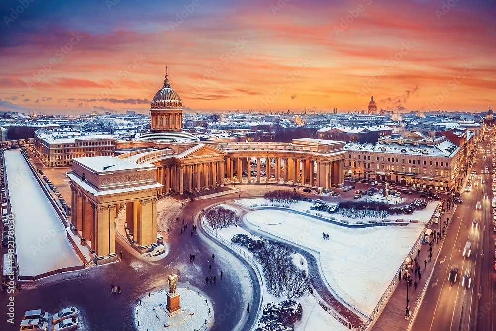 Fototapeta Awesome sunset over the Kazan Cathedral, Saint Petersburg, Russia.