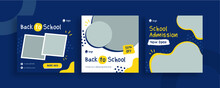 Set Of Editable Templates For Instagram Post, Facebook Square Frame, Social Media, Back To School, Courses, Advertisement, And Business Promotion, Fresh Design With Blue And Yellow Color (3/3)