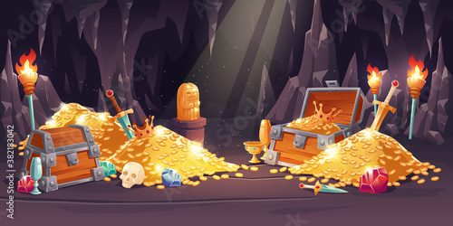 Cave with treasure, pile of gold coins, jewelry and gem. Vector cartoon illustration of treasury in rock mine with wooden chest full of riches, swords, torch and skull
