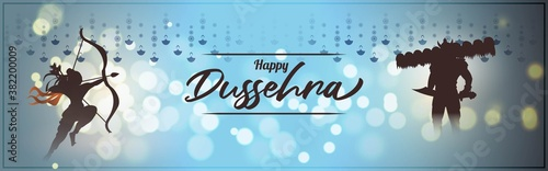 Vector illustration of Happy Dussehra greeting, Indian festival, Lord Rama holding bow and arrow in hands killing Ravana, fireworks, danglers, beautiful bokeh background Canvas Print