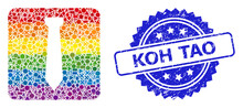Scratched Koh Tao Stamp Seal And LGBT Colored Geometric Tie Collage