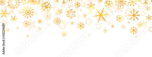 Obraz Golden snowflakes falling on white background. Gold snowflakes border with different ornament. Luxury Christmas garland. Winter ornament. Celebration banner. Vector illustration - fototapety do salonu