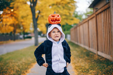 Trick Or Treat. Funny Grumpy Angry Child Boy With Red Pumpkin On Head. Kid Going To Trick Or Treat On Halloween Holiday. Adorable Mad Boy In Party Panda Costume. Natural Emotion.