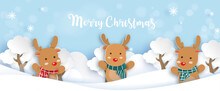 Christmas Banner With A Reindeer In Paper Cut And Craft Style.