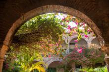 Convent Of Santa Cruz De La Popa, Cartagena De Indias, Bolívar, Colombia On February 17, 2018. Arches And Plants Inside The Convent.