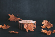 Wooden Podium Or Stand For Product Showcase With Dried Leaves On Grey Stone Background, Dark Still Life