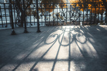 A View Of A Metal Fence In Urb...