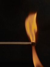 Super Closeup Of The Flame From A Freshly Ignited Match