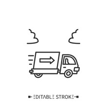 Shipping Line Icon. Product Distribution. Delivery Service. Production Logistics. Product Transportation.Stages And Elements Of A Successful Production Cycle. Editable Stroke