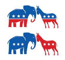 Democratic And Republican Political Symbols. Election, Voting, Political Debate