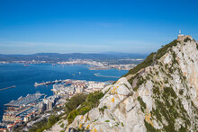 View Of Gibraltar Rock, With La Linea, Spain In The Distance, Gibraltar