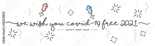 Fotomural We wish you Covid-19 free 2021 Happy New Year handwritten lettering tipography r