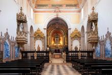 Baroque Interior Of The Espinheiro Convent Chapel, Evora, Alentejo, Portugal