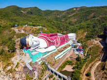 Aerial By Drone Of A Giant Reclining Buddha In Win Sein Taw Ya Outside Mawlamyine, Mon State
