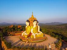 Aerial By Drone Of The Huge Sitting Buddhas, Ko Yin Lay, Pupawadoy Monastery Near Ye, Mon State