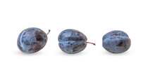 Ripe Sweet Plums Isolated On W...