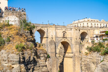 Puente Nuevo (New Bridge), The Tallest Of The Three Bridges In Ronda Crossing The Guadalevin River, Ronda, Andalusia, Spain