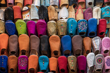 Colourful Babouche Slippers For Sale In The Marrakech Souks, Place Djemaa El Fna, Marrakech, Morocco