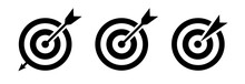 Target Icon Vector Set. Goal Icons. Target With Arrow – Set Isolated On White Background. Vector